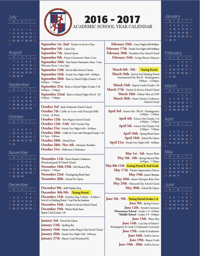 2016-2017 CHP School Calendar